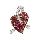 Ruby & Diamond Heart Brooch