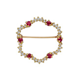 Ruby & Diamond Open Scalloped Pin