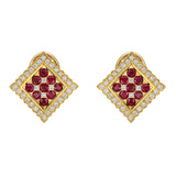 Ruby & Diamond Square Earclips