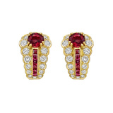 Ruby & Diamond Tapered Earrings