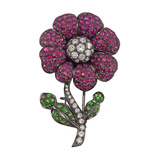 Ruby, Diamond & Tsavorite Flower Pin