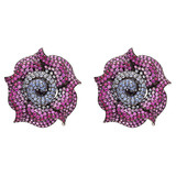 Large Ruby & Multicolored Sapphire Rose Earrings