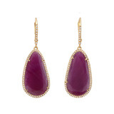 Ruby Slice & Pavé Diamond Drop Earrings
