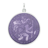 Large Silver St. Christopher Medal with Purple Enamel