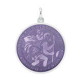 ​Medium Silver St. Christopher Medal with Purple Enamel