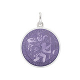​Small Silver St. Christopher Medal with Purple Enamel