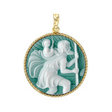 18k Gold St. Christopher Cameo Pendant in Green Agate