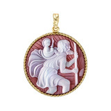 18k Gold St. Christopher Cameo Pendant in Red Agate