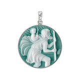 Platinum St. Christopher Cameo Pendant in Green Agate
