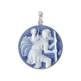 Platinum St. Christopher Cameo Pendant in Blue Agate