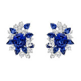 Sapphire & Diamond Cluster Earclips