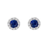 Sapphire & Diamond Cluster Stud Earrings