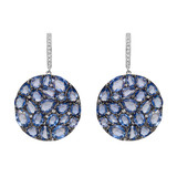 Blue Sapphire Disc-Shaped Drop Earrings