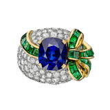 5.09 Carat Sapphire, Diamond & Emerald Cocktail Ring