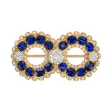 Antique Sapphire & Diamond Figure-8 Pin