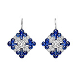 ​Sapphire & Diamond Foliate Cluster Drop Earrings