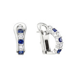 Sapphire & Diamond Half Hoop Earrings