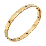 18k Yellow Gold, Diamond & Sapphire Hinged Bangle