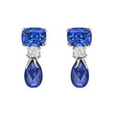 Sapphire & Diamond Short Pendant Earrings