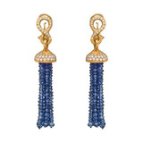 Sapphire Bead Tassel Earrings