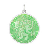Medium St. Christopher Medal with Light Green Enamel