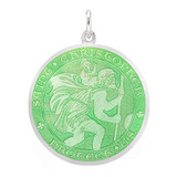 Large Silver St Christopher Medal with Light Green Enamel