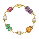 "​Multicolored Gemstone & Pearl ​""Baroque"" Bead Bracelet"