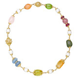 """Baroque"" Multicolored Stone & Pearl Bead Necklace"