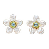 &quot;Biwa Flower&quot; Keshi Pearl &amp; Gem-Set Earrings