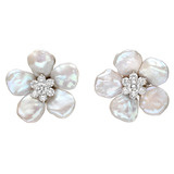 "Large ""Biwa Flower"" Keshi Pearl & Diamond Cluster Earrings"