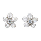 Biwa Flower Aquamarine & Diamond Earrings