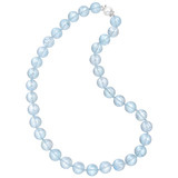 Blue Topaz Bead Necklace with Pearl Clasp