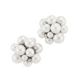 &quot;Bubble&quot; Pearl Earrings with Diamond