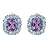 """Calibre"" Amethyst Earrings with Sapphire & Blue Topaz"