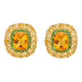 &quot;Calibre&quot; Citrine Earrings with Tsavorite