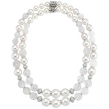 Pearl, Carved Crystal & Diamond Bead Long Necklace