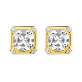 "18k Gold & Rock Crystal ""Carre"" Earclips"