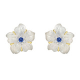 "Rock Crystal & Gem-Set ""Clematis Flower"" Earrings"