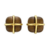 "Walnut & 18k Gold ""Crossover"" Earclips"