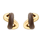 "​18k Gold & Walnut ""Crossover"" Earclips"