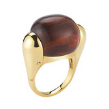 "18k Gold & Rosewood ""Golf Ball"" Ring"