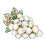 Pearl & Gem-Set Grape Cluster Brooch