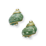 Green Mottled Shell Earclips with Pearl Caps