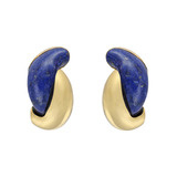 &quot;Half Link&quot; Lapis &amp; 18k Gold Earclips