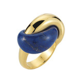 "18k Gold & Lapis ​""Half Link"" Ring"