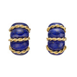 "18k Gold & Lapis ​""Shrimp"" Earclips"