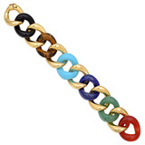 Medium Mixed Colored Stone &amp; 18k Gold Link Bracelet