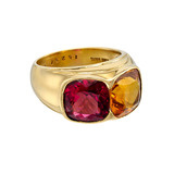 "Pink Tourmaline & Citrine ""Mogul"" Two-Stone Ring"