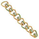 """Mousetrap"" 22k Gold Link Bracelet with Emerald & Diamond"