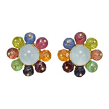 Multicolored Gemstone Cluster Earclips